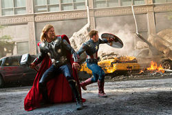Avenged twofold: Thor and Captain America lay waste in The Avengers.