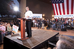 Republican presidential hopeful Mitt Romney addresses supporters during a recent rally at Mesa Amphitheatre.