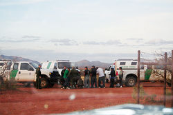 Border Patrol agents arrest illegal immigrants from southern Mexico just inside the United States in Cochise County and less than 200 yards from the border fence.