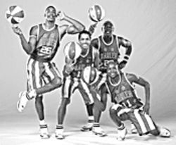Spoofs up: Children of all ages can see the Globetrotters at America West Arena.