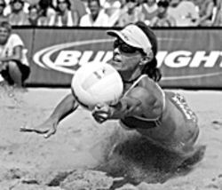 Down 'n' dirty: Volleyball pros like Holly McPeak hit the Tempe sands.