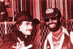 Michael Hester, with &quot;Father Guido Sarducci,&quot; circa 1978.