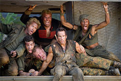 Not quite Entourage: Ben Stiller, Jack Black, Robert Downey Jr., and the gang take aim at Hollywood in Tropic Thunder.