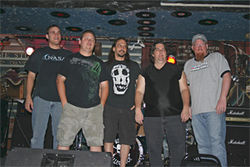 Bitter Allegiance: Russ Covner (second from right) and his band of loyal followers.