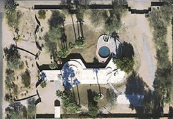 An aerial view of the Scoville house's peculiar footprint.