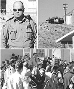 A Colorado City police officer (top left) watches the press conference from   Chatwin's front yard, while fellow officers (top right) observe the event from a hillside behind the house. More than two dozen reporters from across the country (above)   hear Chatwin defy church orders to abandon his home and leave town.