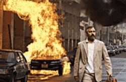 "A tangled web: George Clooney, leaving an exploding car, is the ""good guy"" in Syriana."