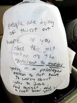 A message to all potential vandals, comparing the crime to murder.