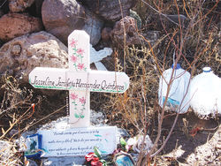 Josseline's shrine in the canyon where her body was found, about 45 minutes from Byrd Camp.