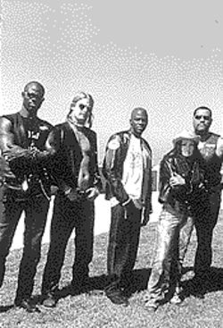 Hog wild: From left, Djimon Hounsou, Kid Rock, Derek Luke, Lisa Bonet and Laurence Fishburne in Biker Boyz.