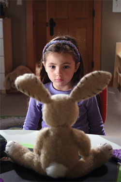 Rhiannon Leigh Wryn stars as Emma Wilder and a stuffed bunny stars as Mimzy in The Last Mimzy.