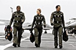 Top guns: From left, Jamie Foxx, Jessica Biel and Josh Lucas prepare to fight the good fight in Stealth.
