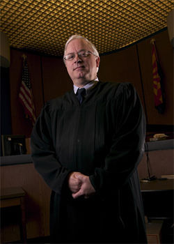 Superior Court Judge Warren Granville, who is presiding at Robert Ortloff&#039;s murder trial.