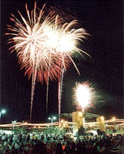 Burst of excitement: Fireworks light up the sky at Tempe Town Lake.