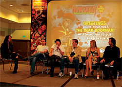 Left to right: The Ronalds brothers, Bill Moseley, Clare Grant, and Brian Pulido on a panel at a Fangoria festival.
