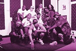 Thou shalt rhyme: The Ten Commandments, spreading the hip-hop gospel. Underground Empire's Michael Life is seated in the top row, second from left.