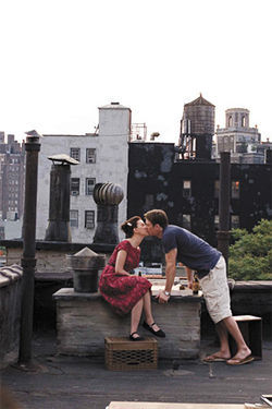Joan of (Central) Park: Scarlett Johansson kisses up to Chris Evans in The Nanny Diaries.