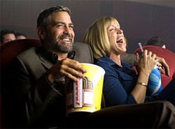 Dumber and dumbest: George Clooney and Frances McDormand play it broad in the Coen brothers' Burn After Reading.