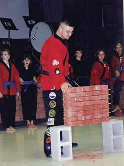 Josh Robinson demonstrates his brick-breaking skill for students in 2008