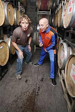 Spit: Glomski and Keenan put in a hard day&#039;s work in the barrel room at Page Springs Cellars.