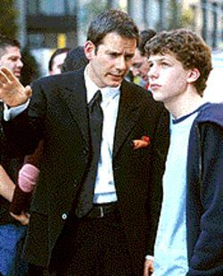 Shallow pal: Campbell Scott (left) tries to teach Jesse Eisenberg the finer points of superficiality in Roger Dodger.