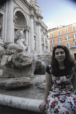 Meyer in front the Trevi Fountain during her book tour in Rome.