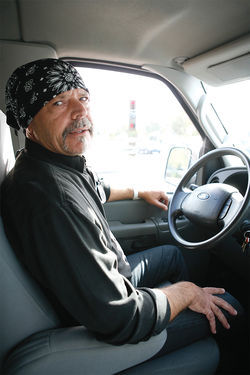 On the road again: During leaner times, Orr has lived in his Ford van.