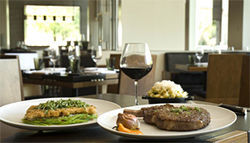 Decadent dining: Tapioca-crusted snapper and grilled rib eye are just a couple of options at posh new Bourbon Steak.