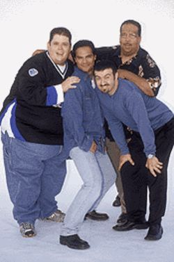 Hanging with his homies: Ralphie May, left, with the Latinos Locos comics.