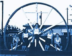 Big wheel a-rollin': The Weaker Sex, from left, Erica Cluff, Heather Rae Johnson, Tessa Chapparone, Ruth Wilson and Krissy Packard.