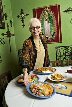At her Tucson restaurant El Charro, Carlotta Flores serves up picture-perfect chimis, allegedly invented by her great-aunt, Monica Flin.