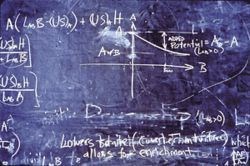 Detail of chalkboard in &quot;Inner Equations,&quot; 2004, by Lorenzo Clayton and George Sidebotham