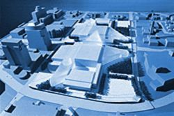 "This ""massing model"" of the Civic Plaza expansion is intended to illustrate use of available space, not architectural style."