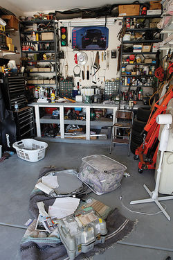 Part of the garage/costume lab at the Forrester home.