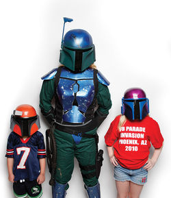 Jen LaFortune with their two children love to dress up and geek out.