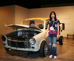 Liz Cohen stands next to her project of the past 5 years; a Trabant that transforms into an El Camino low rider