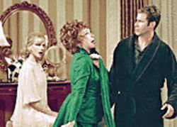 Mortal peril: Nicole Kidman, Shirley MacLaine, and Will Ferrell try to get the magic going in Bewitched.