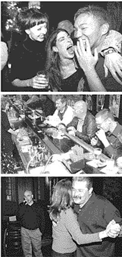 Top: Big laughs at Amsterdam. Center: The men all pause at Newman's. Bottom: Big Al's -- karaoke worth dancing to.