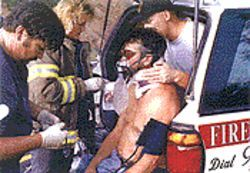 John Noack being treated at the 1999 accident scene.