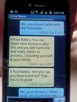 Text messages between Orozco and Babeu