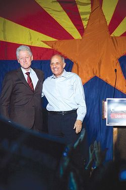 President Bill Clinton and Rich Carmona after a Tempe rally.