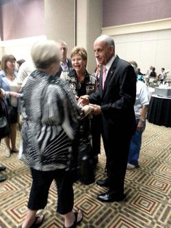 Carmona greets supporters during a Women for Carmona fundraiser in September.