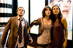 Monstrous: Michael Stahl-David, Lizzy Caplan, and Jessica Lucas run from the beast in Cloverfield.