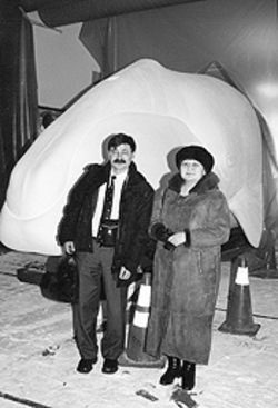 Vladimir Etylin, director of the newly formed Association of Traditional Marine Mammal Hunters of Chukotka, with his daughter, Olga, at a February conference in Barrow, Alaska.