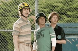 A league of their own: From left, Jon Heder, Rob Schneider and David Spade are geeks turned ballplayers in The Benchwarmers.