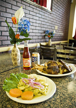 South American flavor: El Farol's cebiche de pescado (left) and pollo a la Brasa.