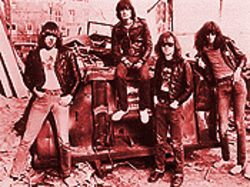 Road to Ruin: The Ramones' original lineup poses Bowery style. From left, Johnny, Dee Dee, Tommy and Joey.