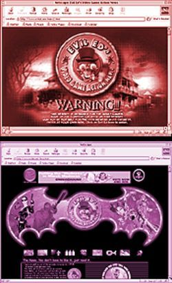 "Screen shots from Evil Ed's ""Video Game Action News"" Web site."
