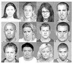 "In May, ""English"" Shaun Attwood and 12 others were arrested and indicted on charges that they took part in a multimillion-dollar drug ring known as ""the Evil Empire."" Row 1 (from left): Angel Capdevilla, Andrea Swanson, Carina McCormick, Patrick Powers.    Row 2: Antwaine Cotton, Bonnie Helle, Cody Bates, Peter Mahoney.    Row 3: Gary Menichello, George Garcia, Kerry Osborne, Sherwin Williams."