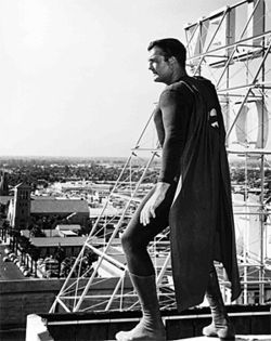 George Reeves as he appeared in the 1950s Superman TV series.